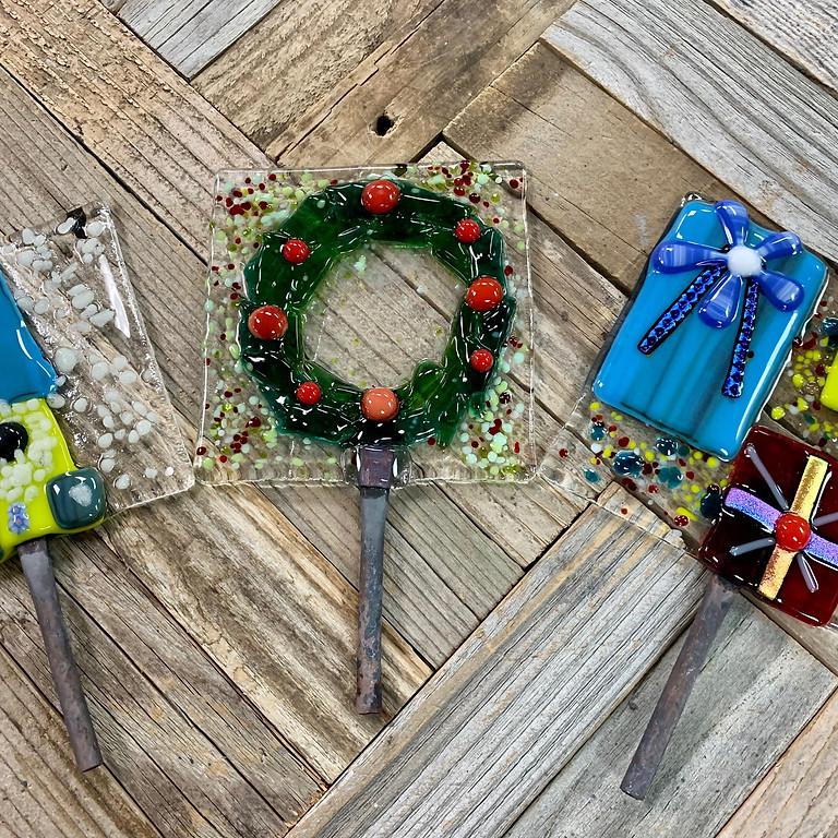 Glass Fusion Yard Art  Holiday Edition