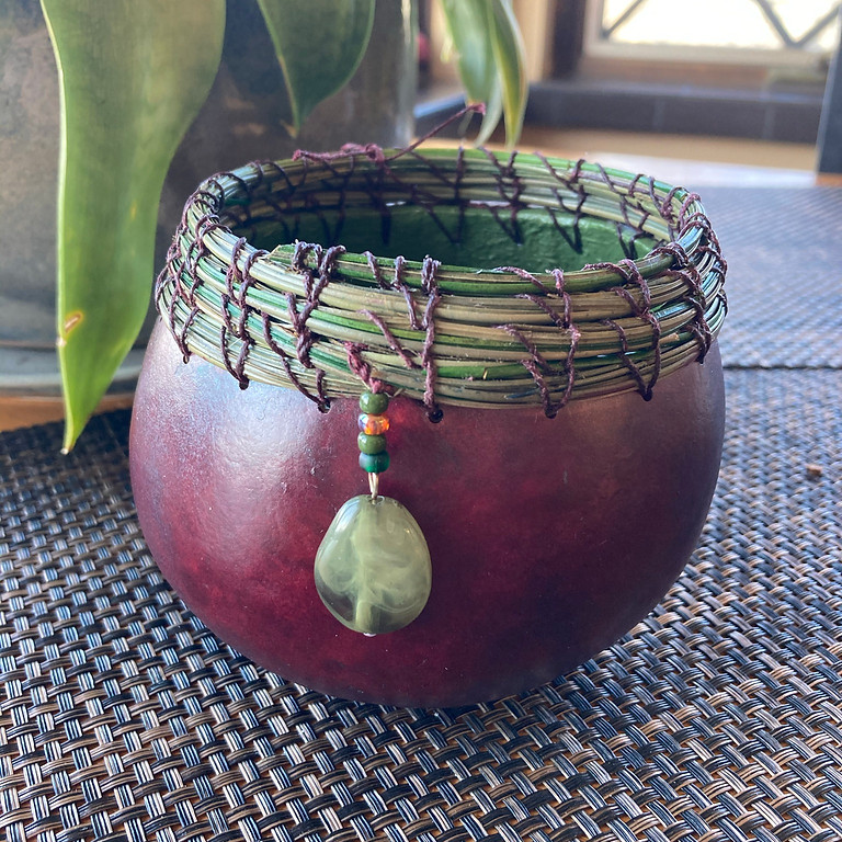 Gourd Bowl with Pine Needle Rim