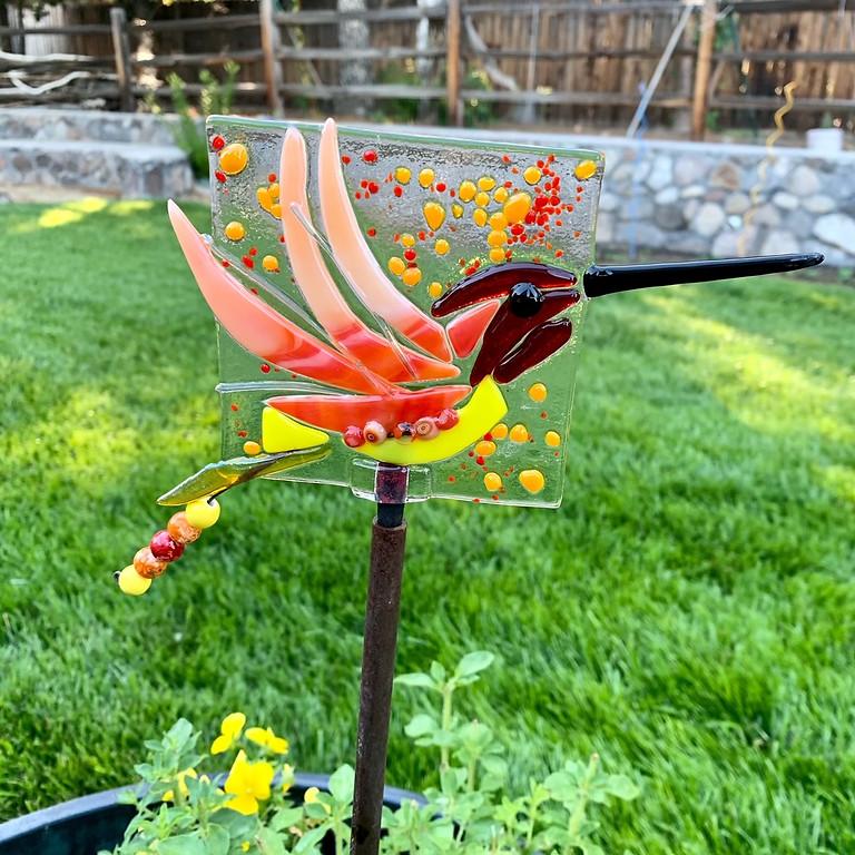 Glass Fusion Hummingbird Yard Art