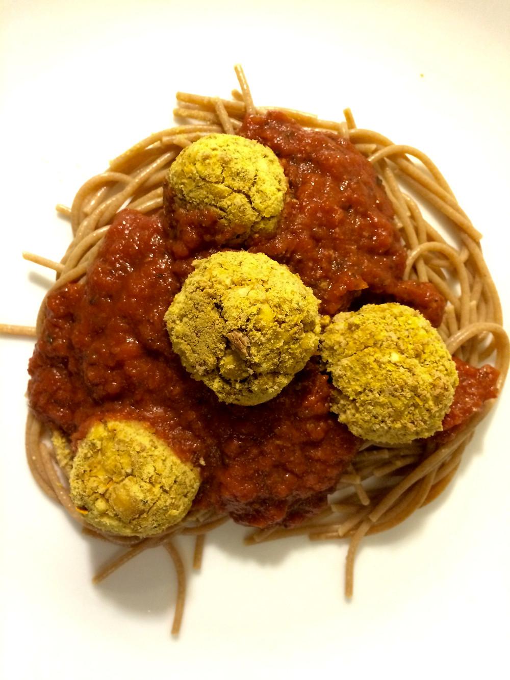 Italian Bean Balls on Pasta