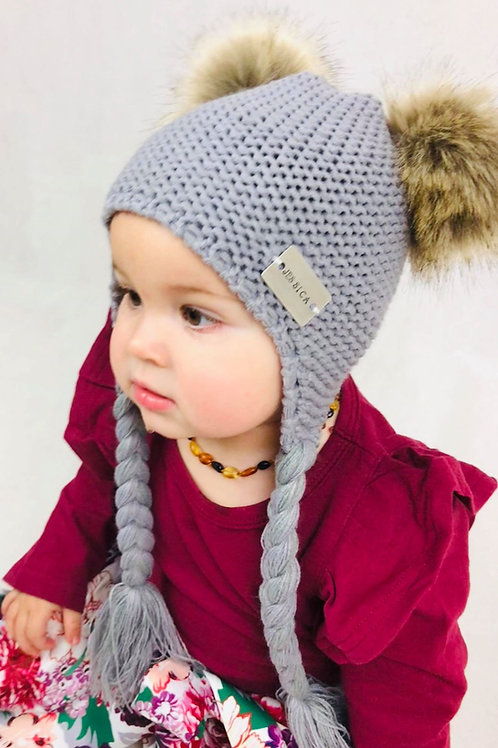 Double Pom Plait Hat with Personalised Hand Stamped bar
