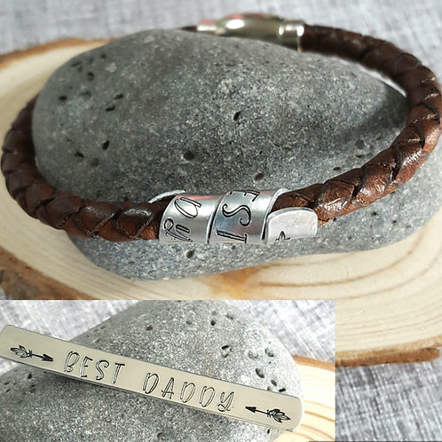 Mens Leather Bracelet with Personalised Handstamped Spiral