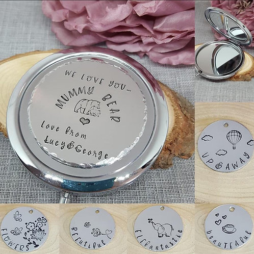 Handstamped Personalised Compact Mirror