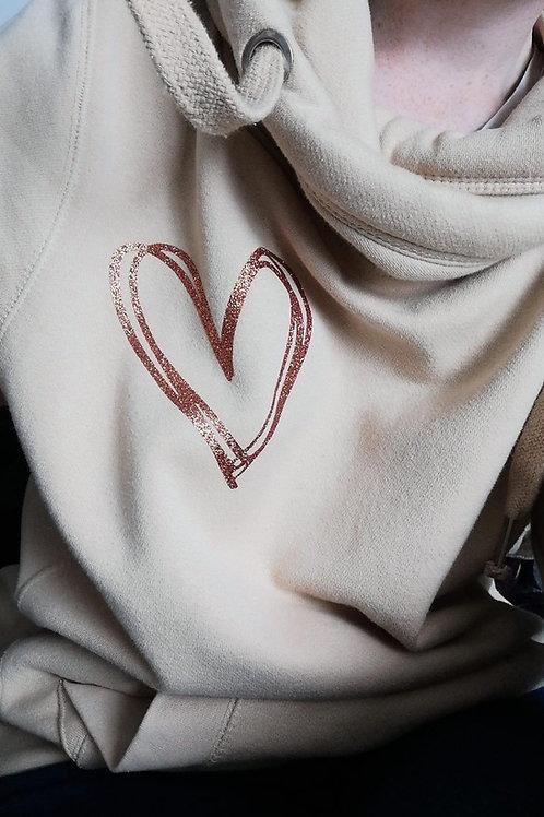 Sketch heart cross neck hoodie