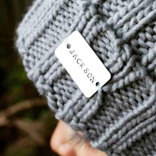 Pom Pom Hat with Personalised Hand Stamped bar