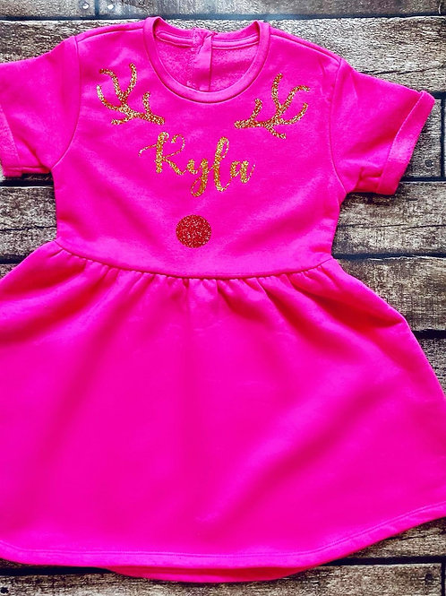 Tenner Tuesday - Personalised Fleece Lined Reindeer Dress
