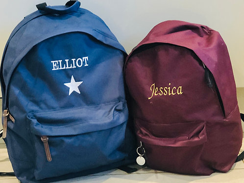 Embroidered Personalised Backpack