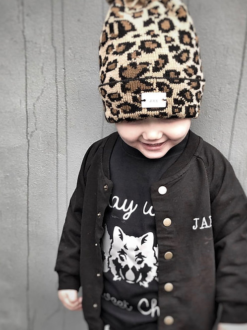 Leopard Print Pom Pom Hat with Personalised Hand Stamped Bar