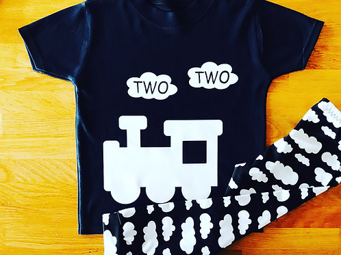 Two Two Train Birthday Top