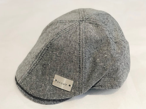 Childs Personalised hand stamped bar flat cap