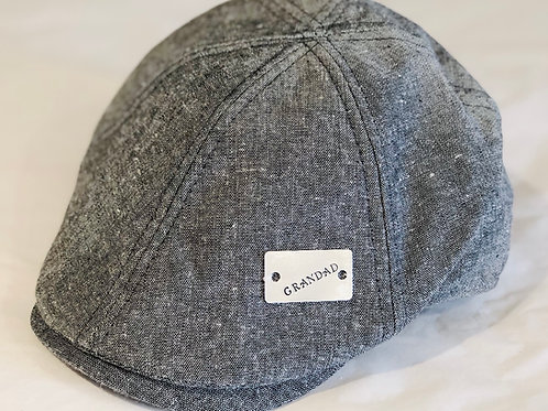 Personalised hand stamped bar flat cap