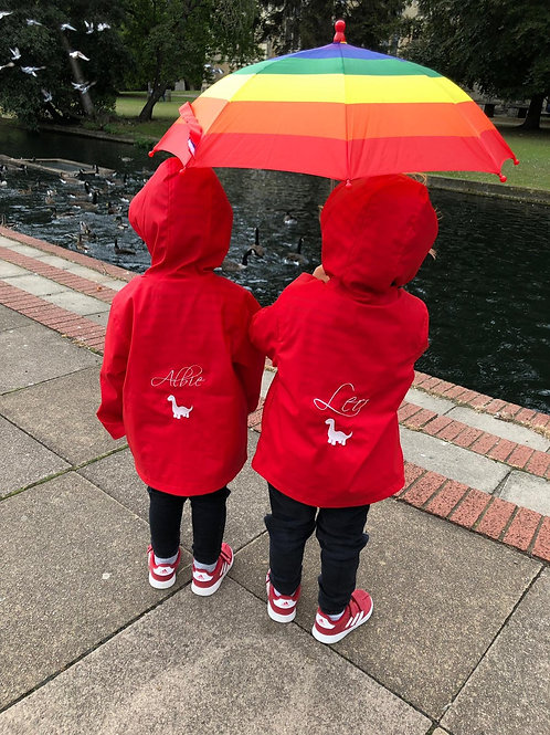 Embroidered Raincoat in Navy, Red or Yellow