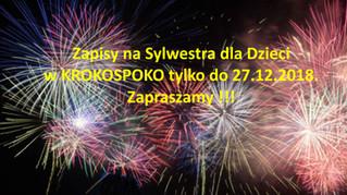 Zapisy na Sylwestra dla Dzieci w KROKOSPOKO tylko do 27.12.2018