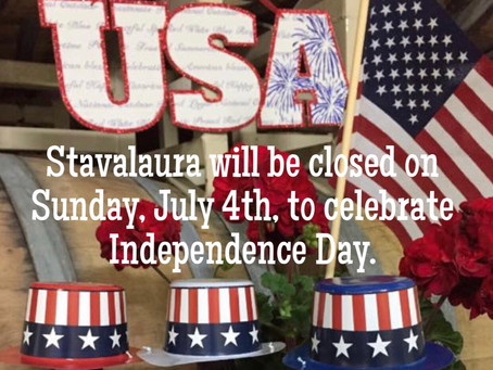 Although we are closed on July 4th, we will be OPEN on July 3rd from noon to 5:00pm!