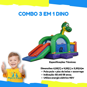 Combo 3 em 1 Dino, Kid Play, Dinossauro
