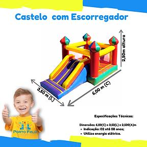 Castelo com escorregador inflavel