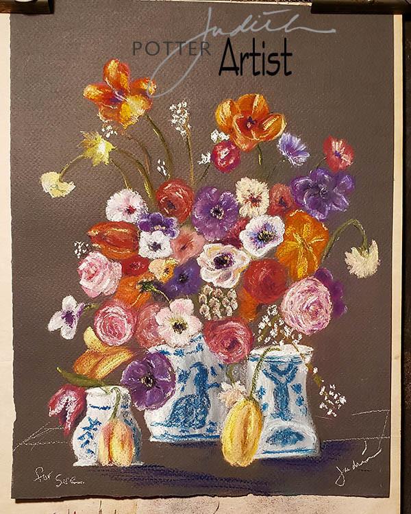 Flowers in vase, Pastel