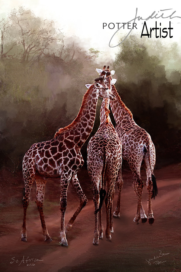 Giraffes, South Africa, Painting, Canvas