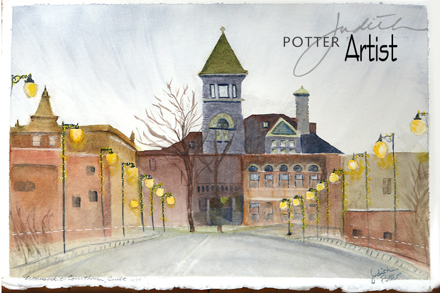 Courthouse, watercolor