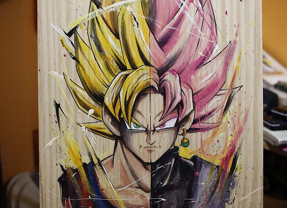 """MADERA PINTADA """"Goku VS Goku Black Rose"""" 60X40cm"""