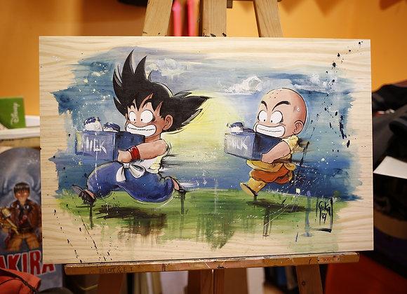 "MADERA PINTADA ""Goku y Krilin"" 60X40cm"
