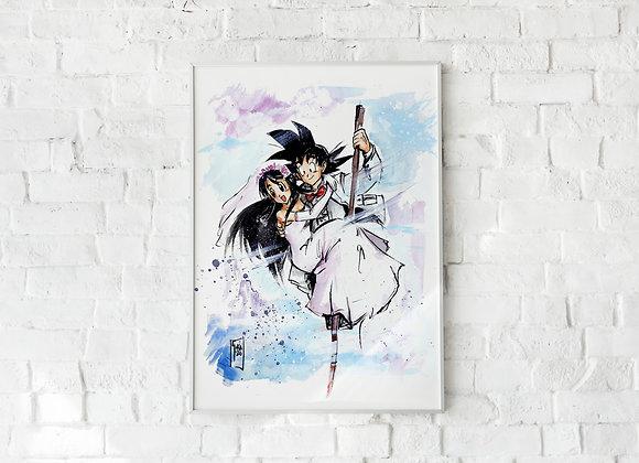 LÀMINA_ Goku & Chichi Wedding