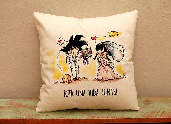 Funda cojín Goku y Chichi (Dragon Ball català)