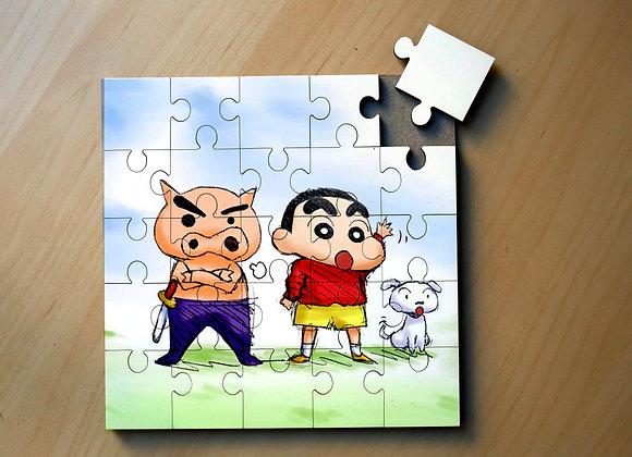 PUZZLE MADERA 25 PIEZAS - SHIN CHAN + PORQUET PIRATA