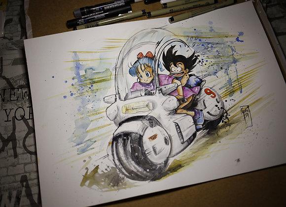 Goku y Bulma Moto 9- ORIGINAL