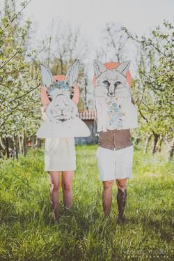 Figures lapin/renard, dessin tissus