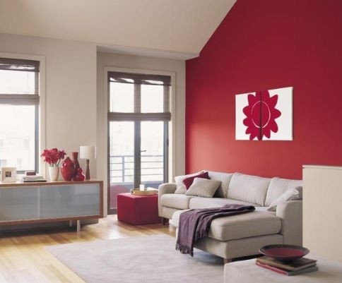 Red Painted Feature Wall Lounge Room