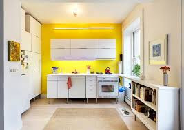Yellow Painted Feature Wall in Kitchen