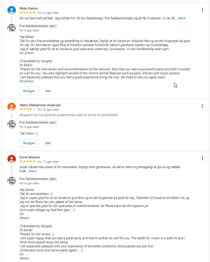 Kundernes anmeldelser på Google