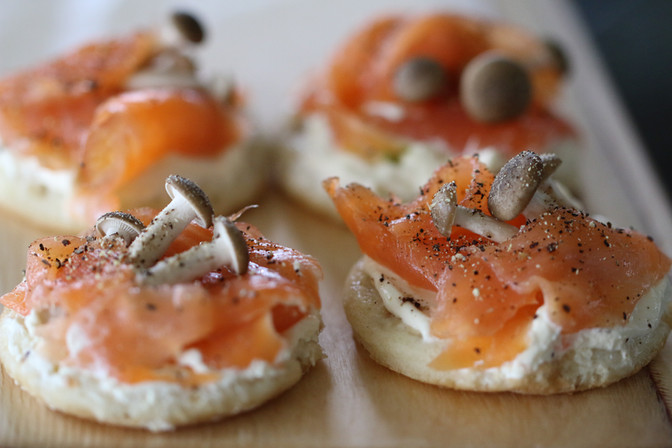 Smoked Salmon and Buna Shimeji Blinis