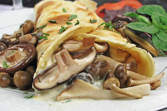 Creamy Woodland Mushroom & Chicken Pancakes