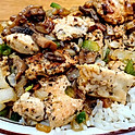 Chicken Tips over rice