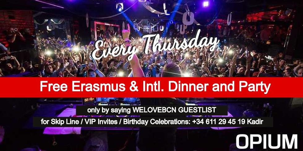 Thursday Opium: Erasmus Free dinner & drinks