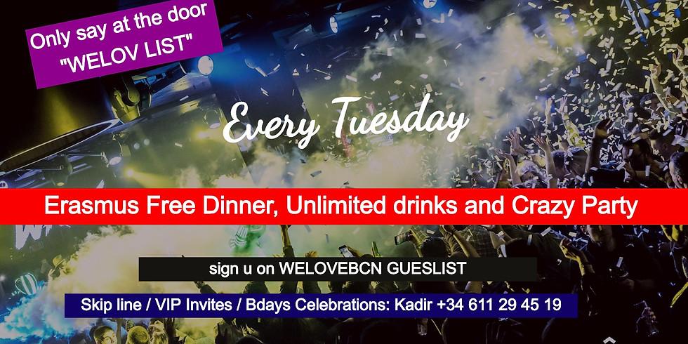 Tuesday Free dinner & drinks SHOKO by WELOV LIST