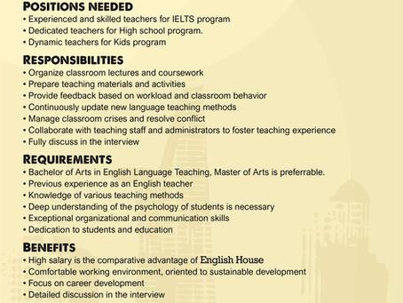 Trung tâm Anh ngữ English House tuyển dụng Giáo viên Tiếng Anh và nhân viên Khối Điều hành