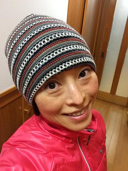 寒い朝もお気に入りの帽子で