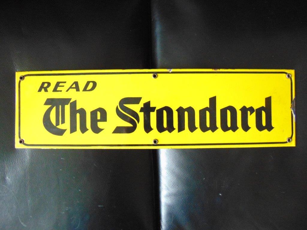 SOLD - Porcelain Newspaper Advertising Sign