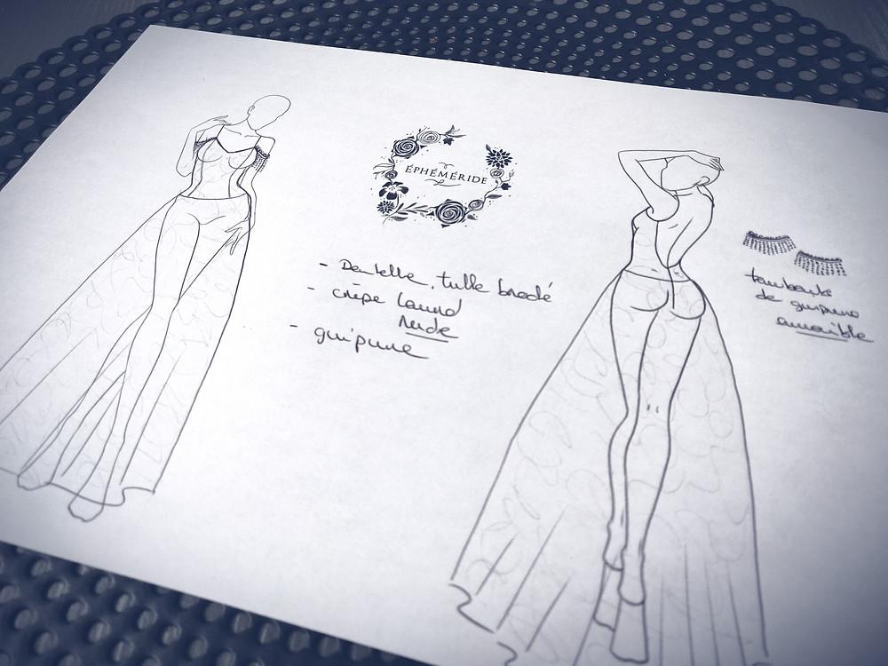 Croquis robe de mariée sur mesure, atelier Éphéméride Lille