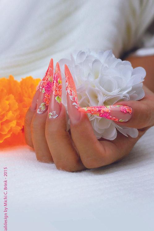 Neon Floral Nails - 70 cm x 200 cm