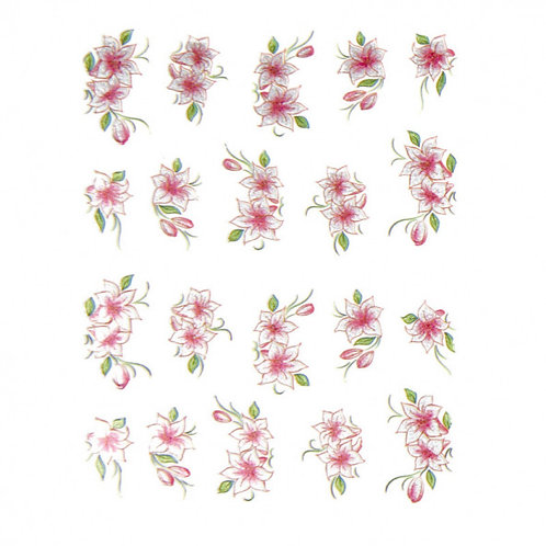 Sticker 3D flores - plata / rosa