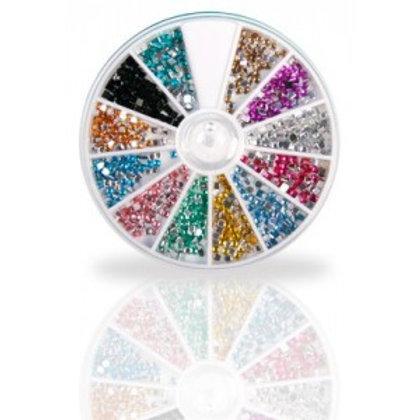 """Assortiment de strass acryliques """"Carré"""", 600 pcs, 12 couleurs"""