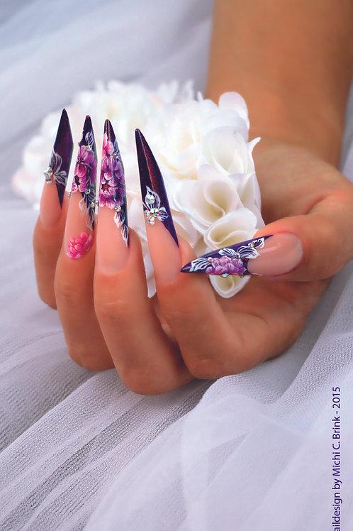 Violet Floral Nails - 70 cm x 200 cm