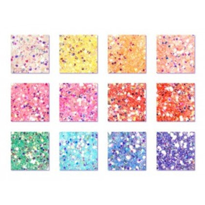 Kit of 12 colors GLITTER MIX, PASTEL