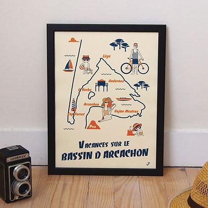 """Affiche """"Vacances à Arcachon"""""""