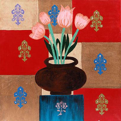 Tulips in a matka painting