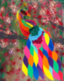 Rainbow Peacock Painting